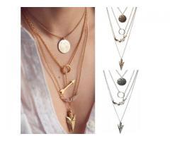 Collar de plata mujer. Colgante de oro multicapas. Cadenas