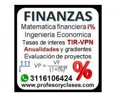 Profesor de Matematica Financiera a domicilio en Medellin clases particulares