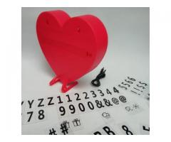 Tablero luminoso corazon con letras. Lampara corazon
