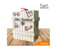Caja de navidad tipo export en madera blanca con sellos