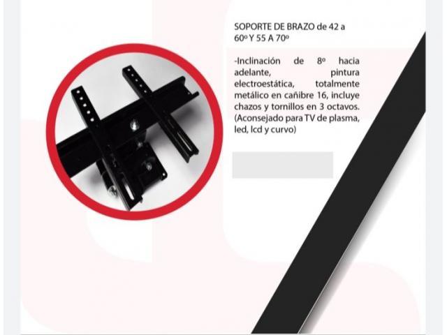 """SOPORTE BRAZO DOBLE GIRATORIO E INCLINABLE PARA T.V DE 37""""-60"""" PULGADAS - 3/5"""