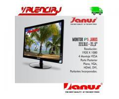 "MONITOR IPS JANUS 21.5"" VGA DVI HDMI 2213LE 1920X1080 FULL HD Y PARLANTES INCORPORDOS VESA"