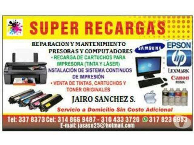 recarga cartuchos impresoras HP Samsung - 1/1